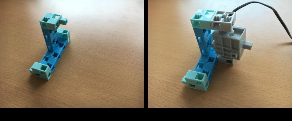 サーボモータにブロックを接続
